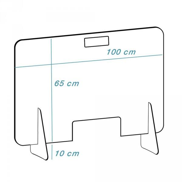 Plexiglas schermi model 'mobiel-hoog', Transparant