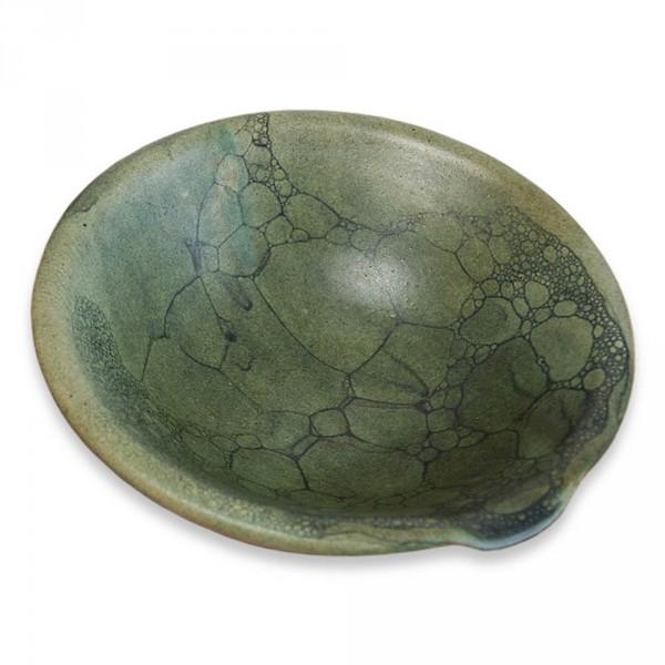 Olieschaal, terracotta groen, met de hand gedraaid
