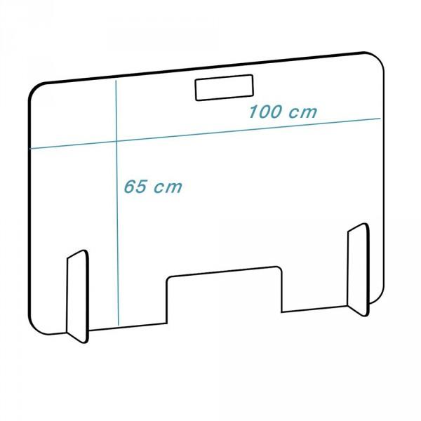 Plexiglas scherm model 'mobiel-diep', Transparant