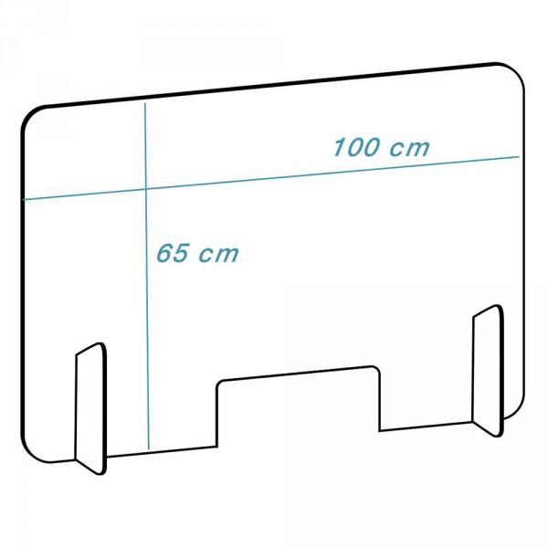 Plexiglas scherm model 'diep', Transparant