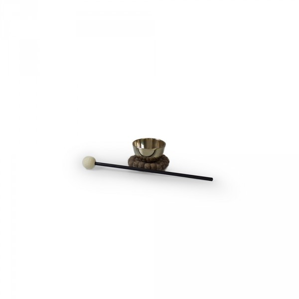 Kleine Zen-klankschaal, 7 cm incl. onderzetter en klepel met een vilten kop